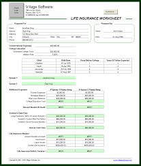life insurance worksheet personal financial software