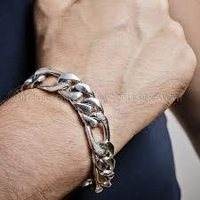mens silver bracelet chain images 15mm silver figaro bracelet jpg