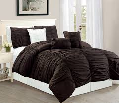 Luxury King Comforter Sets Wpm 7 Piece Royal Chocolate Brown Ruched Comforter Set Elegant Bed