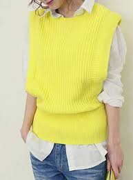 sweater vest womens sweater vest tapered sleeveless ribbed yellow