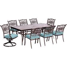 Dining Room Swivel Chairs Hanover Traditions 9 Piece Aluminum Outdoor Dining Set With