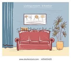 color interior cartoon living room stock illustration 350736326