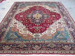 Fine Persian Rugs 8x11 Persian Oriental Tabriz Hand Knotted Wool Geometric Reds