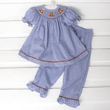 infant thanksgiving girls thanksgiving turkey smocked pant set navy gingham smocked
