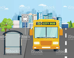 concept bus bus at the bus stop on background of city transport concept of