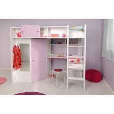 lit combiné bureau fille ladys lit enfant surélevé 90x200 cm blanc et achat vente