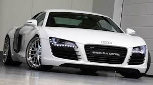 Audi R8 V10 Spyder - audi r8 v10 spyder tuning white sport car in the garage