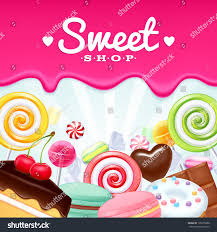 halloween candy background drawn different sweets colorful background lollipops cake stock vector