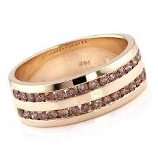 Mens Wedding Ring 2 by 1 Carat Channel Champagne Diamond Men U0027s Wedding Ring 2 Rows