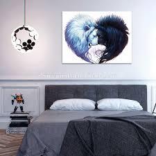 Peinture Noir Et Blanc by Coeur Forme Lions Toile Mur Art Beau Lions Noir Et Blanc Toile