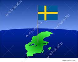 Sweedish Flag Illustration Of Map With Swedish Flag
