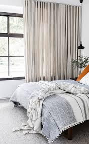 Floor To Ceiling Curtains Floor To Ceiling Curtains In Modern Bedroom With Linen Bedding