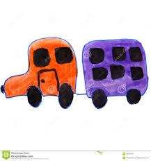kid car drawing drawing kids watercolor car trailer cartoon on a stock