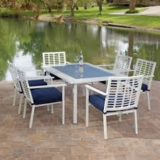 White Patio Furniture Sets Patio White Metal Outdoor Furniture With Blue Cushions Installed