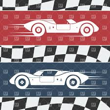 Vintage Flag Art Two Fast Moving Vintage Race Cars On Checkered Flag Background