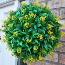 Topiary Balls With Flowers - best artificial 30cm yellow flower ball lush long leaf topiary