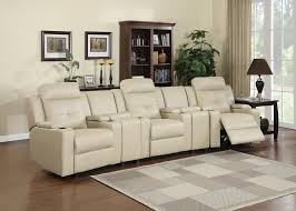 Theater Reclining Sofa 5 Pc Aviator Collection Sand Color Bonded Leather Theater Seating
