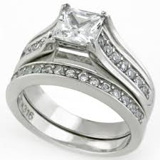 stainless steel wedding ring sets steel princess cut cz wedding ring set