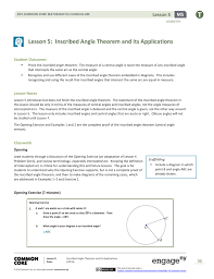 lesson 5 inscribed angle theorem and its application