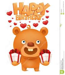 brown funny emoji teddy bear with gift box happy birthday