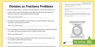 division as fractions word problems activity sheet dividing