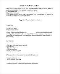 sample character reference letter template 8 free documents