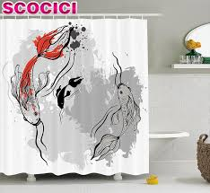 popular japanese themed bathroom buy cheap japanese themed japanese decor shower curtain aesthetic digital motley fluctuate setting of super koi ink marine theme polyester