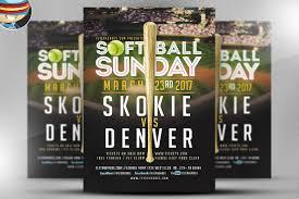 softball sunday flyer template flyer templates creative market