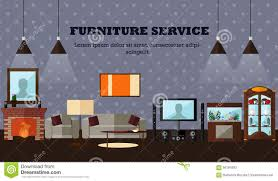 living room interior with furniture concept vector illustration