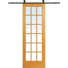 Pine Barn Door by Mmi Door 36 In X 96 In Clear True Divided 18 Lite Unfinished