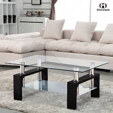 Living Room Glass Tables by Uenjoy Glass Coffee Table Rectangular Black Legs In Oak Amazon Co