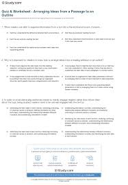 quiz u0026 worksheet arranging ideas from a passage to an outline