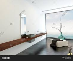 3d rendering of wall mounted hand basin in a minimalist luxury