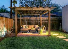 Small Backyard Ideas Landscaping Rustic Styled Pergol With Wicker Sofa Set For Inexpensive Small