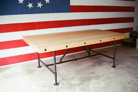 industrial steampunk butcher block conference room table with