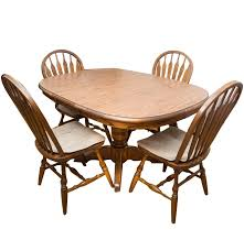 Pedestal Oak Table And Chairs Walter Of Wabash Oak Pedestal Dining Table And Dinaire Windsor