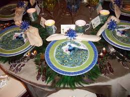 peacock inspired table design for charitable cocktail party