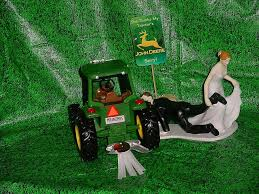 tractor wedding cake topper country farm green yellow jd wedding cake topper pulling