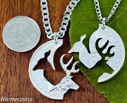 buck and doe couples necklace buck and doe necklace set for couples interlocking