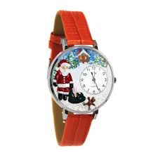 whimsical gifts christmas santa claus watch in silver large