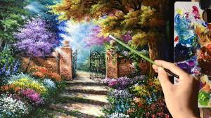 beautiful garden gate acrylics painting youtube