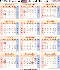 2016 calendar with federal holidays u0026 excel pdf word templates