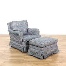 Ikat Armchair Beige Floral Upholstered Swivel Rocking Chair Loveseat Vintage