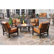Patio Furniture With Fire Pit Set - homecrest midtown 5 piece cast aluminum fire pit conversation set