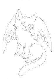 free winged kitty lineart by pawlove arts on deviantart