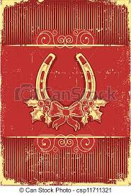 vector illustration of vintage horseshoe on red christmas