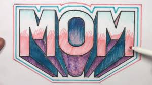 how to draw 3d block letters mom in one point perspective mat