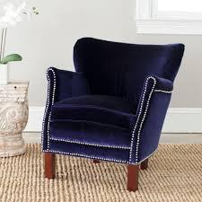 safavieh jenny royal blue velvet polyester arm chair mcr4543d