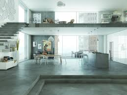 contemporary open plan european home with thin cementitious