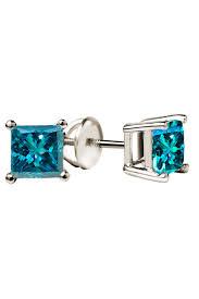 blue diamond stud earrings blue diamond studs in 14k white gold jewelry jubilee